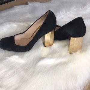Tory Burch Gold Hexagon block heels